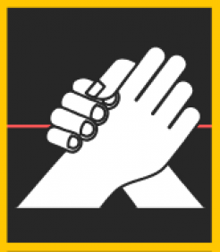 two hands grasp each other on a black background