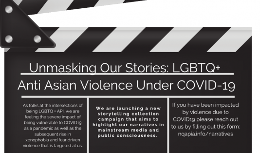director's board with text: Unmasking Our Stories: LGBTQ+ Anti-Asian Violence Under COVID-19
